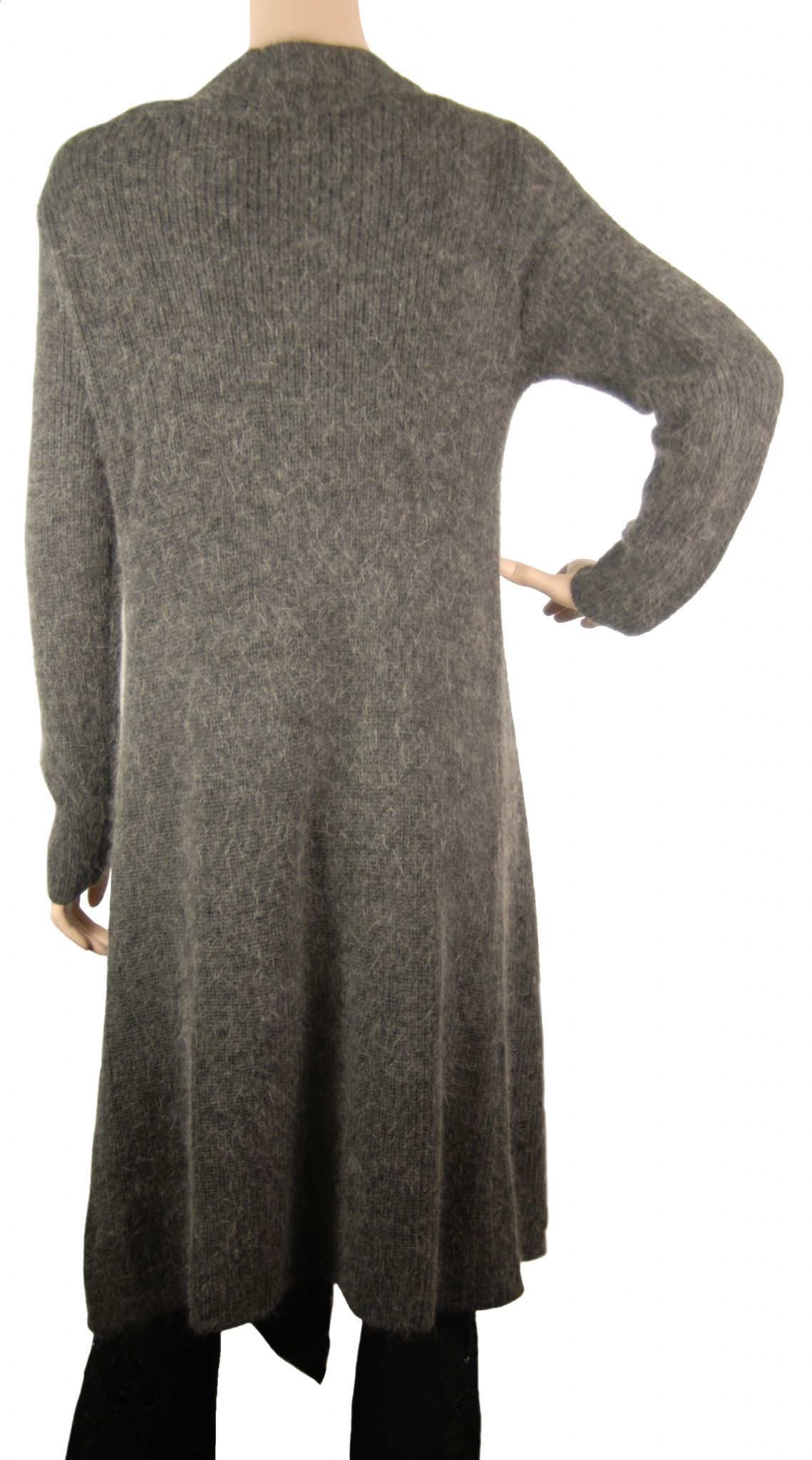 ConMiGo CC120 Glamorous Long Dark Grey Angora Sequin Cardigan
